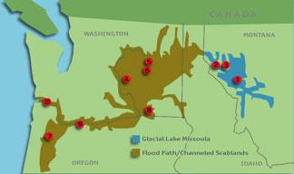 Scablands Washington Map.Lake Missoula Scablands Columbia Flood Basalt Sacred Sites Of